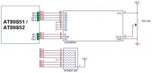 Antarmuka LCD 16x2 karakter M1632 dengan AT89S51 / AT89S52