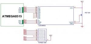 Antarmuka LCD 16x2 karakter M1632 dengan ATMega8515
