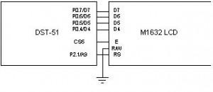 Antarmuka LCD 16x2 karakter M1632 dengan DST-51 / DST-52